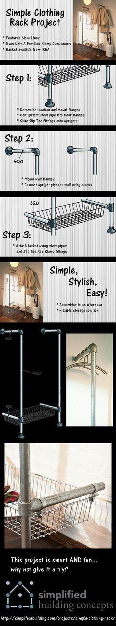 Découvrez ce tuyau projet de rack de vêtements mural!