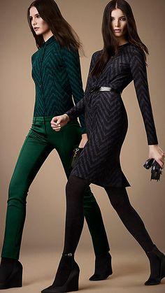 Burberry London Silk Herringbone Print Dress