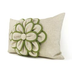 Decorative pillow cover - 12x18 Shabby chic pillow -  French farmhouse - Beige and olive green flower applique pillow cover