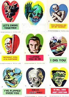 """spookychan: """" teratocybernetics: """" vintagegal: """" Vintage Valentines: Universal Horror Valentine stickers by Norman Saunders, 1966 (via) """" """" Valentines Day Cards Tumblr, My Funny Valentine, Vintage Valentine Cards, Vintage Cards, Diy Valentine, Retro Horror, Vintage Horror, Horror Art, Horror Movies"""