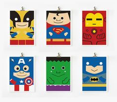 Super hero art print 5 x 7 set of 6 by loopzart on Etsy,