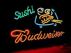 "BUDWEISER BUD LIGHT SUSHI FOODS FISH BEER BAR CAR BIKE NEON LIGHT SIGN 17""x14"" G #BudweiserBudLightLizardFrogHarleyMasei"