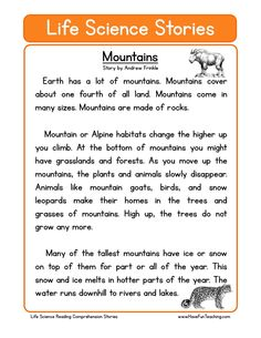 This Mountains Life Science Reading Comprehension Worksheet will help your students build their reading comprehension skills while reading a non-fiction text about the mountains. Phonics Reading, Reading Comprehension Worksheets, Reading Passages, Teaching Reading, Comprehension Strategies, Reading Skills, Writing Skills, Reading Response, Ingles Kids
