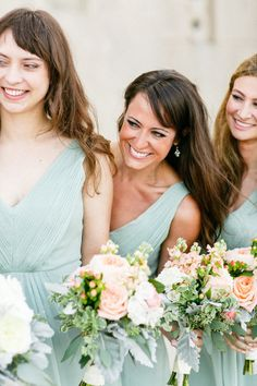 Mint and peach bridesmaid palette is so pretty: http://www.stylemepretty.com/illinois-weddings/chicago/2015/01/09/elegant-chapel-and-library-wedding/ | Photography: Kina Wicks - http://www.kinawicks.com/