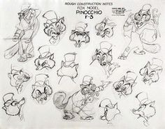 """Fox character studies for """"Pinocchio"""" by Norm Furguson. """"Fergy, as he was called around the studio, was an intuitive animator. Walt liked the loose quality of his drawings. Disney Sketches, Disney Drawings, Cartoon Drawings, Cartoon Art, Cartoon Design, Art Disney, Disney Concept Art, Disney Style, Character Model Sheet"""