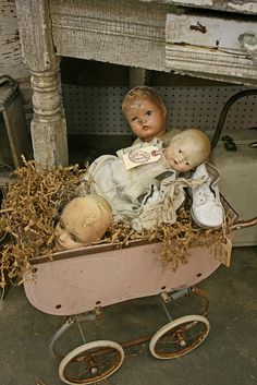 vintage pink doll buggy