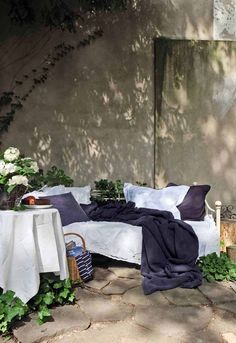 Cosy sofa in front of stonewall Outdoor Balcony, Outdoor Sofa, Outdoor Living, Outdoor Decor, Terrace Roof, Garden Beds, Home And Garden, Cosy Sofa, Houses In France