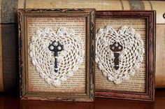doilies and old keys-great way to display all those doilies my Grandmothers make!