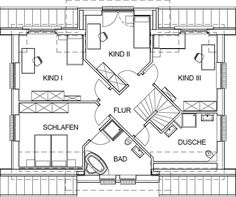 Landhaus Grundriss Dachgeschoss mit m² Wohnfläche Country house floor plan attic with m² of living space Castle House, Moving House, House Rooms, House Floor Plans, My Dream Home, Future House, Living Spaces, Sweet Home, New Homes