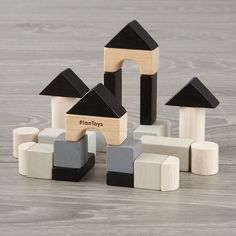 Shop Mini Construction Set. This Mini Construction Set may be small, but it offers major possibilities. The building set includes 24 wooden toy blocks in eight different shapes. #WoodworkingChildrenToys