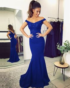 a886328c103 Long Jersey V Neck Mermaid Evening Dresses Lace Off The Shoulder