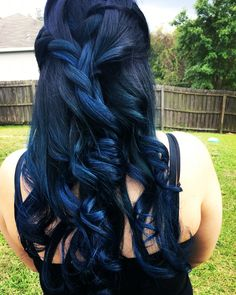 Beautiful black and blue ombre hair balayage