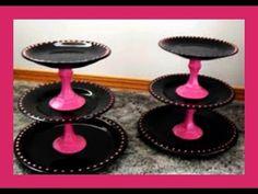Gebäck Etageren selber herstellen - Tortenplatten selber machen - DIY Etagere - von Kuchenfee - YouTube