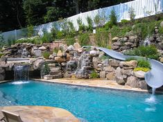 Having a pool sounds awesome especially if you are working with the best backyard pool landscaping ideas there is. How you design a proper backyard with a pool matters. Swimming Pool Slides, Pool Water Slide, Swimming Pools Backyard, Swimming Pool Designs, Water Slides, Backyard Water Parks, Backyard Pool Landscaping, Backyard Pool Designs, Pool Spa