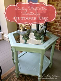 Painting Outdoor Furniture {Thrift Store Find} - Our Southern Home. Using Valspar Duramax outdoor paint. Painted Outdoor Furniture, Repurposed Furniture, Dining Furniture, Furniture Projects, Furniture Makeover, Home Furniture, Diy Projects, Antique Furniture, Rustic Furniture