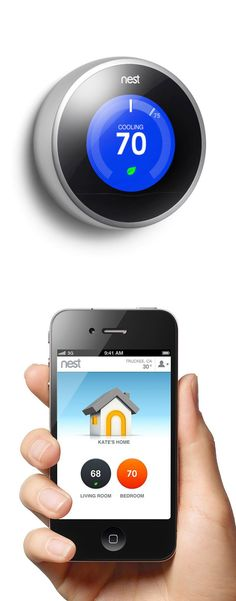 Nest Thermostat - programs itself based on your behaviors and climate preferences, and can be adjusted from anywhere via your smartphone or tablet. Lets you know which temperatures are most energy efficient. It'll even turn itself down when you're out of the house. #tech #innovation