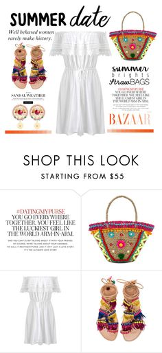 """""""Summer Date with Your Straw Bag"""" by conch-lady ❤ liked on Polyvore featuring Kate Spade, Mystique, Miss Selfridge, Elina Linardaki, Dolce&Gabbana, beach and summerdate"""