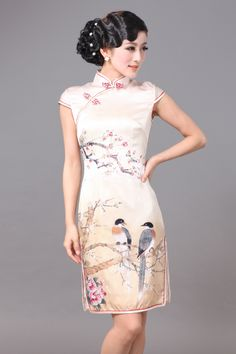 Wonderful Spring Silk Classical Cheongsam - Qipao - Cheongsam - Women
