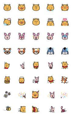 Winnie the Pooh Emoji by nagano – LINE Emoji Mini Drawings, Cute Easy Drawings, Doodle Drawings, Disney Drawings, Doodle Art, Disney Doodles, Kawaii Doodles, Cute Doodles, Cute Disney Wallpaper
