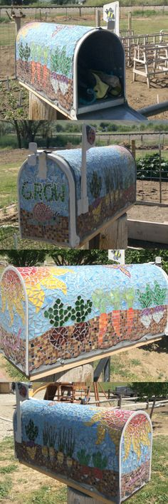 """needed a place to keep hand tools by the garden. . . . a mosaic mailbox."" Mosaic mailbox or letterbox By Joyce McMahon. ..just beautiful!!"