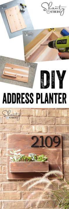 LOVE this wall planter with address numbers... Cheap and easy DIY project! www.shanty-2-chic.com