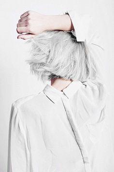 white. grey. #style #fashion #hair