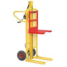 Heavy-duty pallet stacker with hand winch to enable lifting of your load as well as transportation. It looks funky too! https://www.esedirect.co.uk/p-4832-easy-tip-winch-stacker.aspx