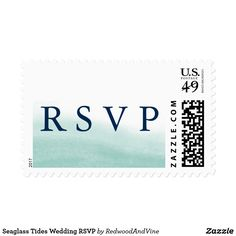Seaglass Tides Wedding RSVP Postage Use these beachy chic postage stamps for your wedding RSVPs or response cards. Designed to match our Seaglass Tides wedding invitation collection, stamps feature RSVP in elegant marine navy blue lettering against a sheer watercolor wash background in pale seafoam green that evokes the ebb and flow of the sea. A beautiful choice for beach or destination weddings, or mint and navy color schemes.