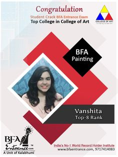 Congratulation on your outstanding result. Bfa Entrance(A Unit of Kalabhumi Arts- India's World Record Holder Institute) Student Crack Top College in India BFA Entrance in Painting with Top 8 Rank Congratulation Once Again Vanshita Top Colleges, Record Holder, Drawing Studies, Bachelor Of Fine Arts, Perspective Drawing, Entrance Exam, World Records, Visual Communication, Coaching