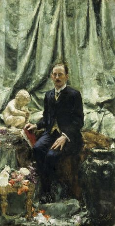 Portrait of Hugh Lane by Antonio Mancini (Italian 1852 - 1930).....Sir Hugh Percy Lane (1875 – 1915) is best known for establishing Dublin's Municipal Gallery of Modern Art (the first known public gallery of modern art in the world) and for his remarkable contribution to the visual arts in Ireland, including the Lane Bequest. He died on board the RMS Lusitania.