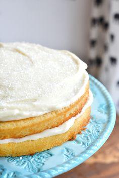 homemade white cake recipe is the best, simplest homemade white cake.   nelliebellie.com