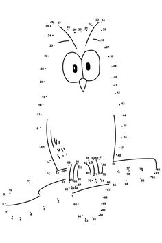 Dot To Dot Printable Coloring Drawing Practice Dotted Drawings, Art Drawings For Kids, Colorful Drawings, Drawing For Kids, Easy Drawings, Coloring Pages Winter, Owl Coloring Pages, Free Printable Coloring Pages, Coloring Books