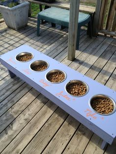 Dog feeding station for a home with multiple dogs every other food every other water