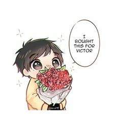 Aw little chibi Yuri bought a bouquet to Victor  Artist: Aiiderp