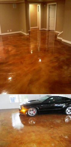 Acid Concrete Stain Reactive Acid Chemcial (RAC), create marbled variations of color on cured concrete by chemical reaction with the minerals in the concrete. Every concrete floor will react with its own unique pattern. Acid Concrete, Stained Concrete, Concrete Floors, Concrete Staining, Concrete Patio, My Pool, Painted Floors, Do It Yourself Home, Basement Remodeling