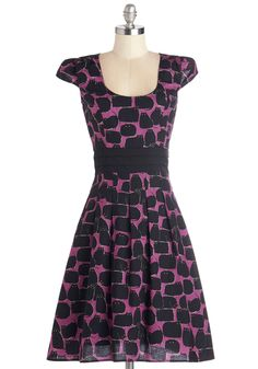 Black Cat It Again Dress. As a quirky stylista who likes to make a statement, you find yourself zipping into the pintucked waistband of this cat-printed dress again and again!  #modcloth