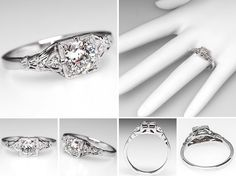 Antique Engagement Rings | Vintage Engagement Ring w/ Transitional Diamond 14K White Gold ...