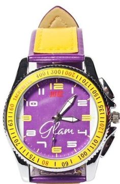 A very elegant and stylish wrist Design WE Glam watch for kids paired with a yellow dial in purple casing and a yellow sports watch strap. The chunky band buckles securely, so the watch will go wherever your child goes. Packed in a beautiful tin box. These watches can be an extraordinary gift for your kids, which they will always adore. Children passionately love to wear these watches as they add to their playfulness, fun and enjoyment along with the trendy designs and accurate performance.