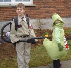 Ghostbuster And Slimer Ghost Costumes -