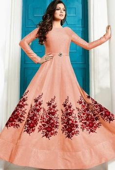 Peach Designer Party Wear Dress