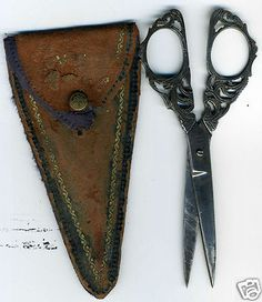 Antique Italian Firenze Scissors; Very Ornate w/Leather Pouch; circa 1800's