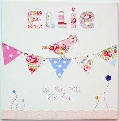 BIRD on BUNTING CANVAS Applique hand sewn Girls baby Bedroom nursery decoration, pictures, wall art plaque. Made using Cath Kidston fabric