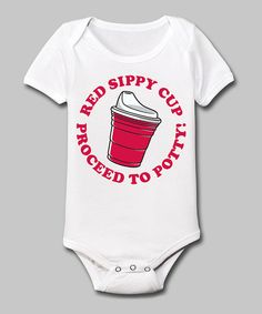 Another great find on #zulily! White 'Red Sippy Cup' Bodysuit - Infant by Country Casuals #zulilyfinds