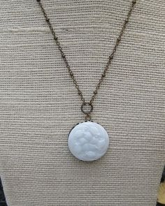 Vintage milk glass button turned locket available on etsy! What a great idea!