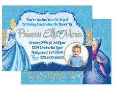 Cinderella - Digital (Glitter) Birthday Party Invitation / Child Party Ideas / Children Party Themes / Children Invites / Children Invitations / Kid Party Ideas / Kid Invitations