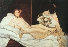 """에두아르 마네, """"올랭피아"""", 1863, 캔버스에 유채, 오르세 미술관.  그림 속 여인의 자세는 얼핏 보기에 비너스와 유사하지만 이 여인은 결코 비너스가 아니다. 이 여인은 여신의 반대라고 할 수도 있을, 창부이다. 각진 턱, 차가운 표정, 살짝 나온 아랫배. 추한 외모와 추한 신분. 그리고 그런 그녀에게 남성들은 꽃다발을 보낸다. 진짜 추한 것은 누구인가? 이 그림 속 추한 여인은 현실 속 사회상의 추한 단면을 잘 보여준다."""