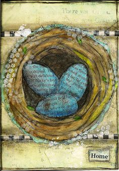Beautiful art using collage and mixed media. Book page eggs Art Journal Pages, Art Journals, Visual Journals, Mixed Media Collage, Collage Art, Altered Books, Altered Art, Art Doodle, Pintura Country