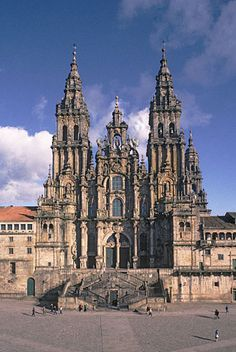 Cathedral of Santiago de Compostela, Spain.  Christian legends tell that St. James the Elder, one of the twelve apostles of Christ, had traveled widely on the Iberian Peninsula, bringing Christianity to the Celtic peoples. Following his martyrdom in Jerusalem around 44 AD, his relics were supposedly taken back to Spain and enshrined.