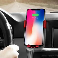 Baseus Qi Wireless Fast Charging Gravity Auto Lock Air Vent Car Phone Holder Stand for iPhone 8 X - Black Air Vent Phone Holder, Car Holder, Car Mount, Goods And Service Tax, New Phones, Iphone 8, Cell Phone Accessories, Usb, Phone Cases