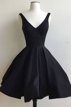 Simple black satin short prom dress, v-neck prom dress, homecoming dress 2017